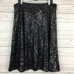 New York Co. full sequin a-line midi skirt black